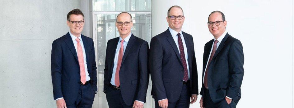 Die Partner bei Interconsilium (von links nach rechts): Dr. Christoph Trah, Dr. Ulrich Lohaus, Dr. Marc Viebahn und Dr. Marc Konieczny